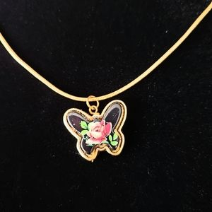 Vintage Butterfly 24k Yellow Gold Over ,925S